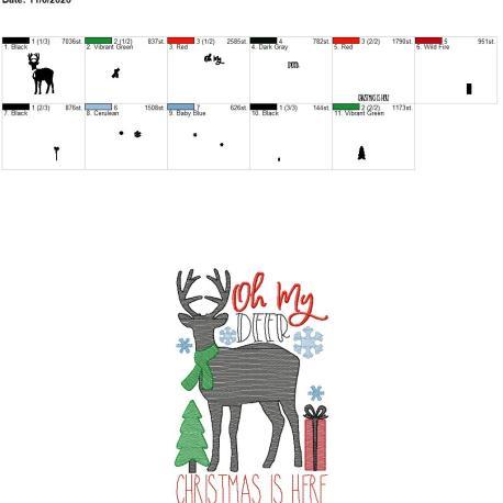 oh my deer christmas is here 6×10