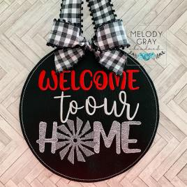 Welcome to our Home Windmill Door Hanger – 3 sizes – Digital Embroidery Design