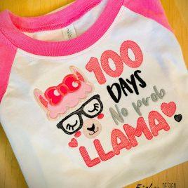 100 Days No Prob Llama – 2 sizes- Digital Embroidery Design
