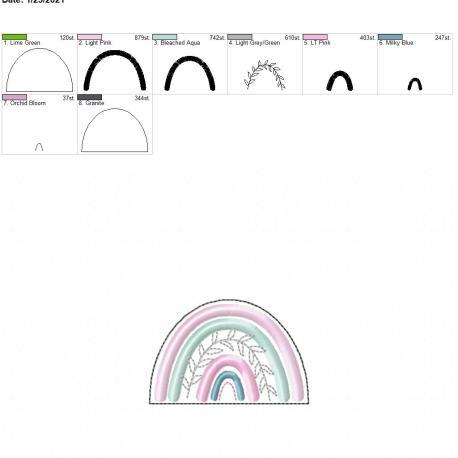Boho Rainbow 3 inch feltie