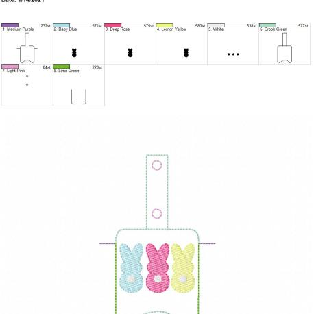Bunny Trio Sanitizer holder snap tab 5×7