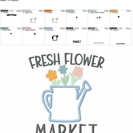 Fresh Flower Market Applique 5×7