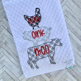 Cluck Oink Moo – 3 sizes- Digital Embroidery Design