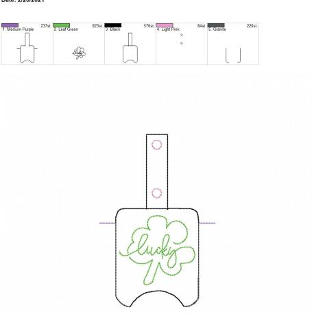 Lucky Sanitizer holder snap tab 5×7