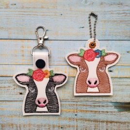 Floral Cow Fobs – DIGITAL Embroidery DESIGN