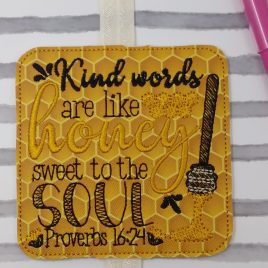Kind words are like honey Book Band – Embroidery Design, Digital File