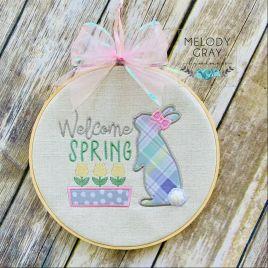 Welcome Spring Applique – 3 sizes- Digital Embroidery Design