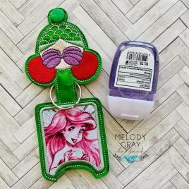 Mermaid Princess Applique Fold Over Sanitizer Holder 5×7- DIGITAL Embroidery DESIGN