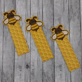 Bee Bookmark 4×4 and 5×7 Grouped – Digital Embroidery Design