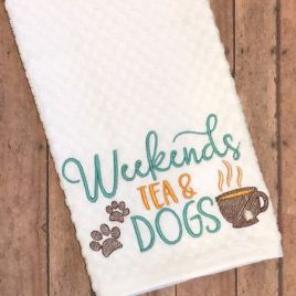 Weekends Tea Dogs – 3 sizes- Digital Embroidery Design