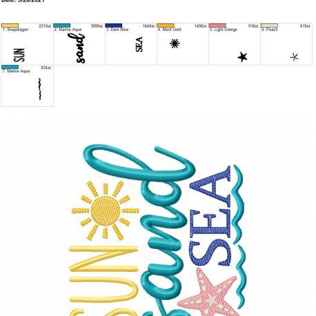 Sun Sand Sea 5×7