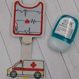 Ambulance Applique Fold Over Sanitizer Holder 5×7- DIGITAL Embroidery DESIGN