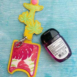Palm Tree Sketch Applique Fold Over Sanitizer Holder 5×7- DIGITAL Embroidery DESIGN