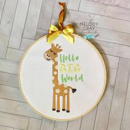 Hello Big World – 3 sizes- Digital Embroidery Design