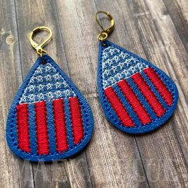 Stars and Stripes Earrings – 2 Sizes – Digital Embroidery Design