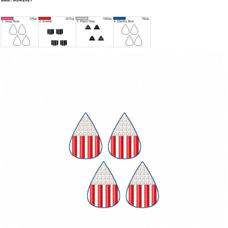 Stars and stripes earrings 1.75 inch 4×4 grouped
