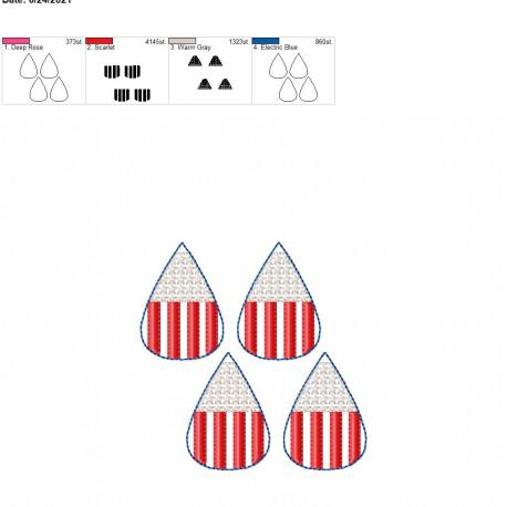 Stars and stripes earrings 2 inch 4×4 grouped