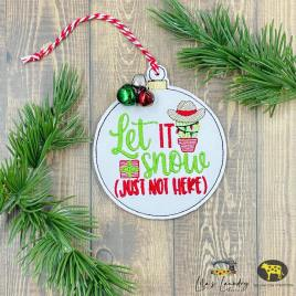 Let it Snow Cactus Ornament – Digital Embroidery Design