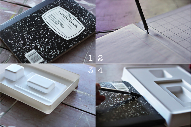 How to turn a composition notebook into an iPad cover Step 1 through 4 DIY tutorial via lilblueboo.com DIY tutorial via lilblueboo.com