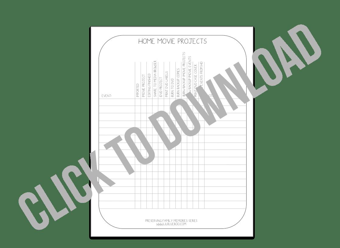 Home Movie Project Checklist