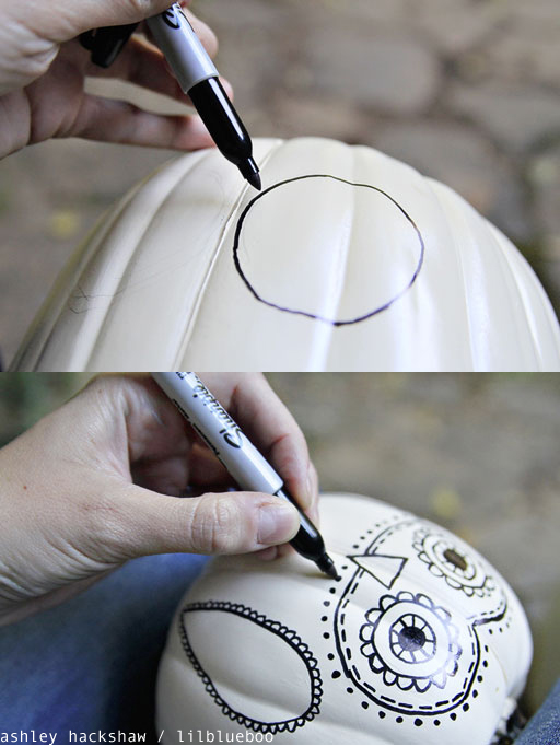 View In Gallery Sharpie Spider Web On Fake Pumpkin Creative Diy No Carve Designs For