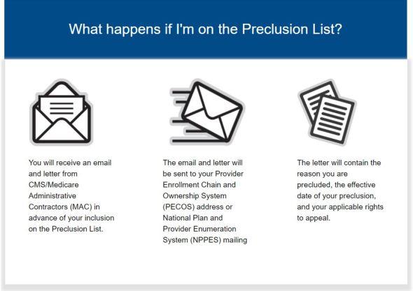 CMS Preclusion List
