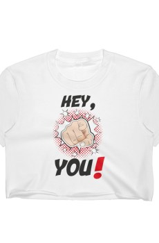 "Handwritings ""Hey, you !"" - Crop-top Femme"