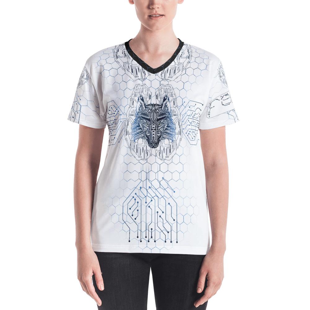 """Fenrir """"Digital Wolf"""" – T-shirt col V Femme"""