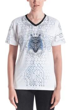 """Fenrir """"Digital Wolf"""" - T-shirt col V Femme"""