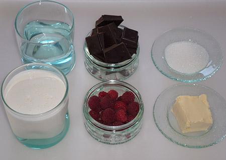 ingrédient crème chocolat framboise