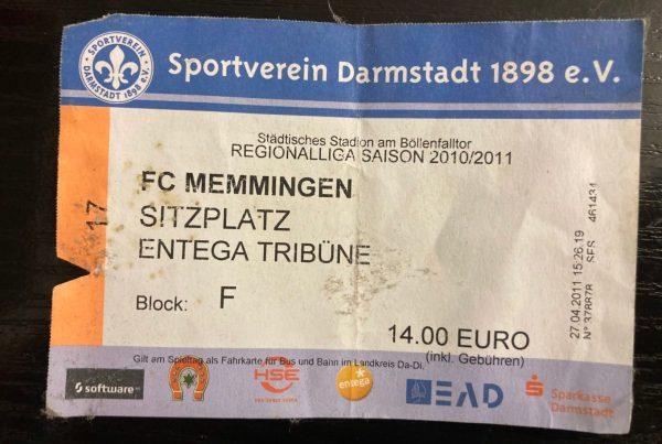 SV Darmstadt 98, Ticket gegen Memmingen