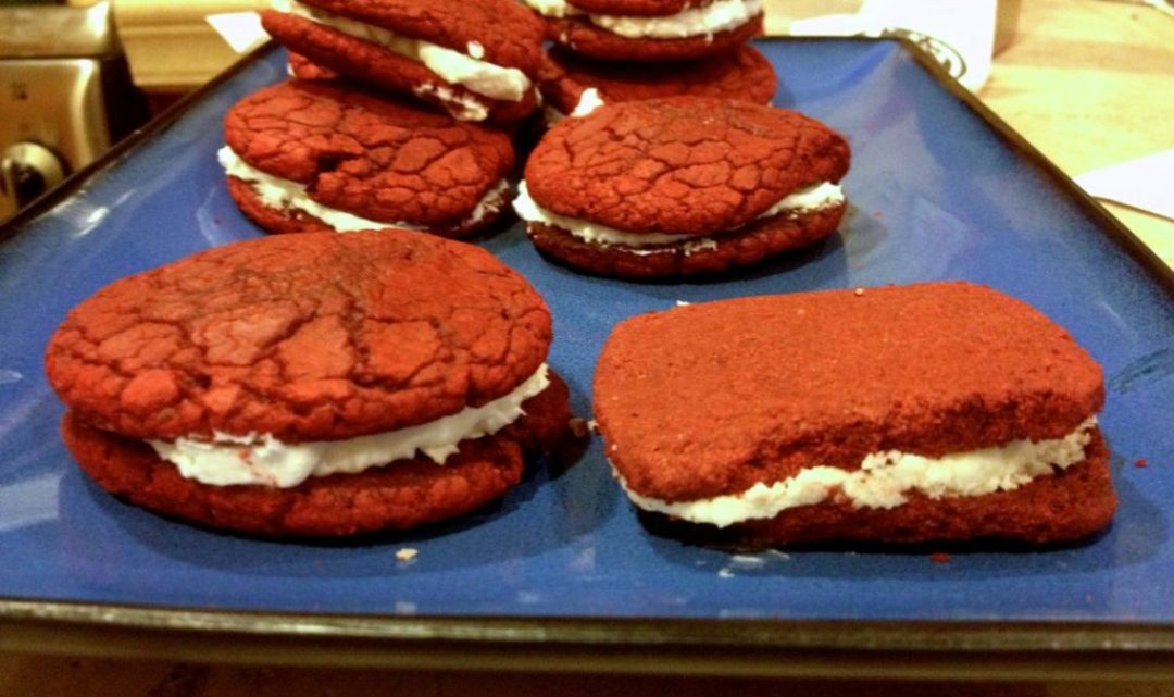 Red Velvet Whoopie Pies Made With Cake Mix