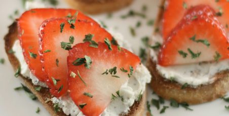 Goat Cheese and Strawberry Crostino