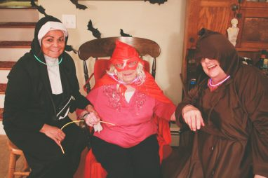 A nun, Little Red Riding Hood, and a Monk
