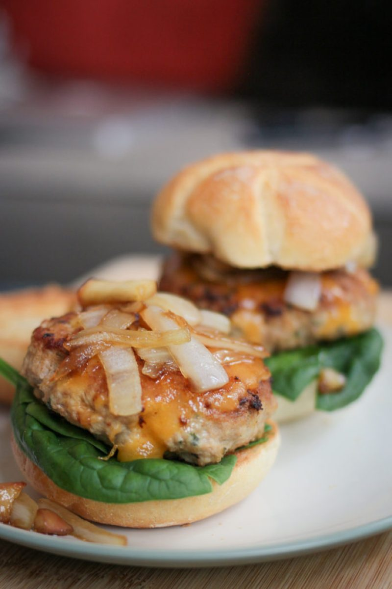 Turkey Burger Sliders with Caramelized Onions and Apples