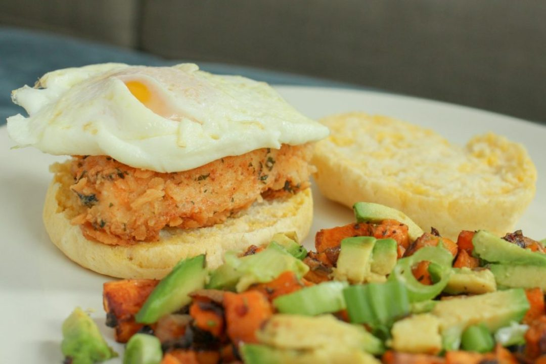 A Crunchy Fried Chicken Brunch with Buttery Biscuits and Hash