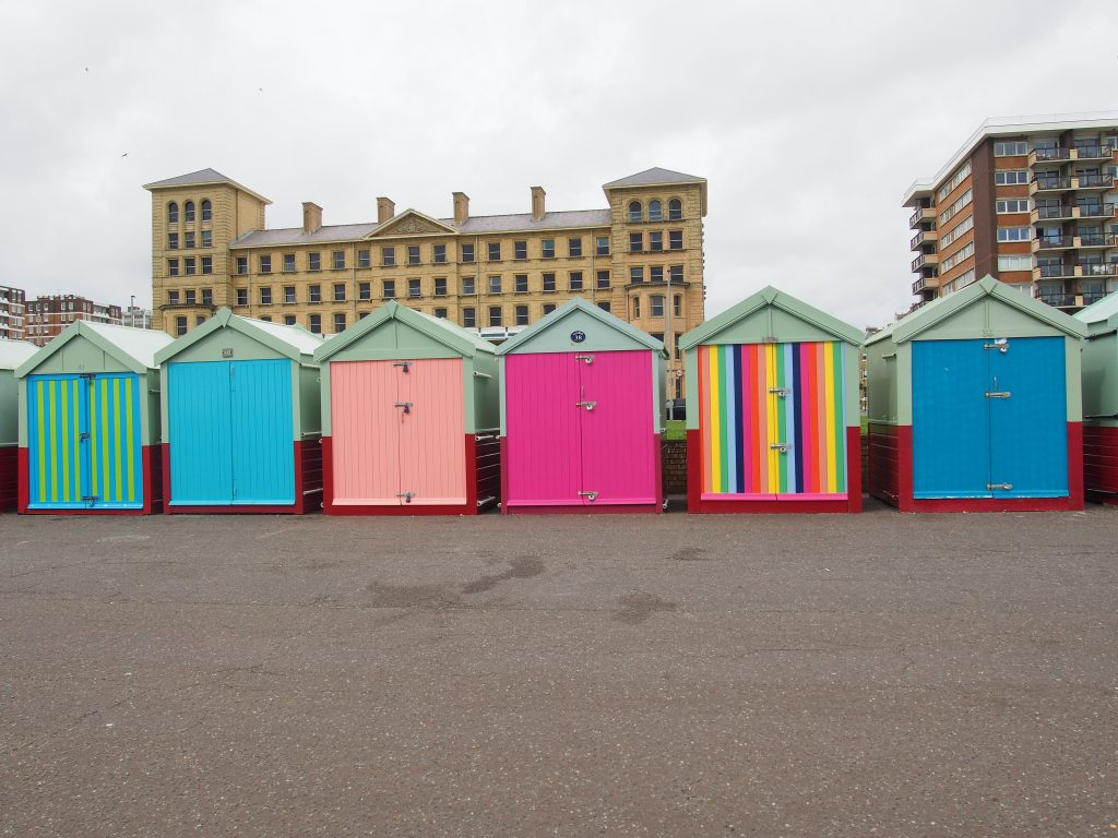 Colorful Beach huts in Brighton