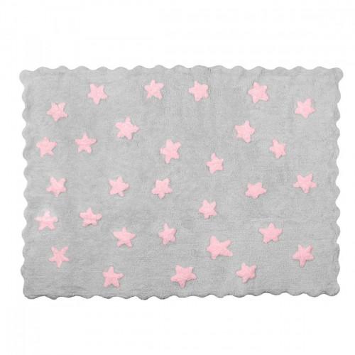 tapis enfant coton etoiles eden gris et rose