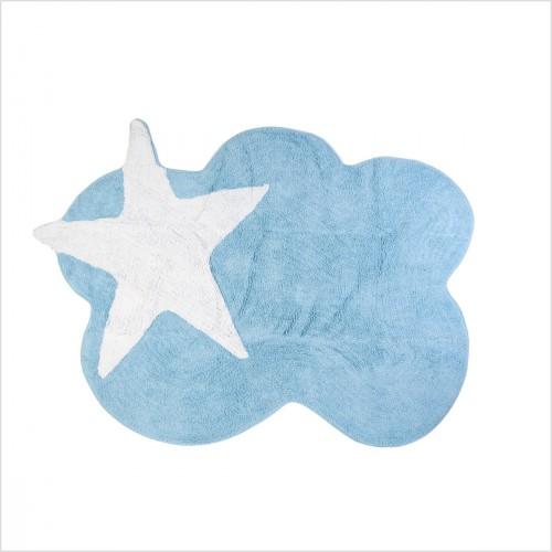 tapis enfant nuage bleu et etoile blanche