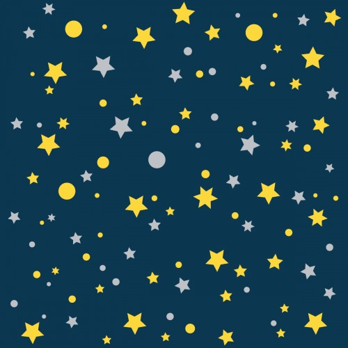 papier peint bleu marine etoiles de la galaxie jaunes