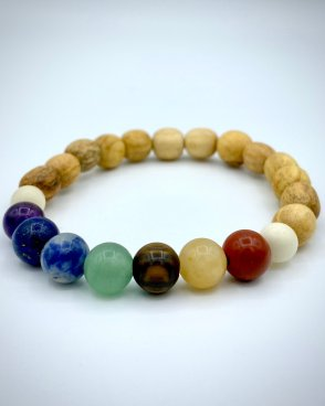 7 Chakra and Palo Santo Wood Beads Bracelet