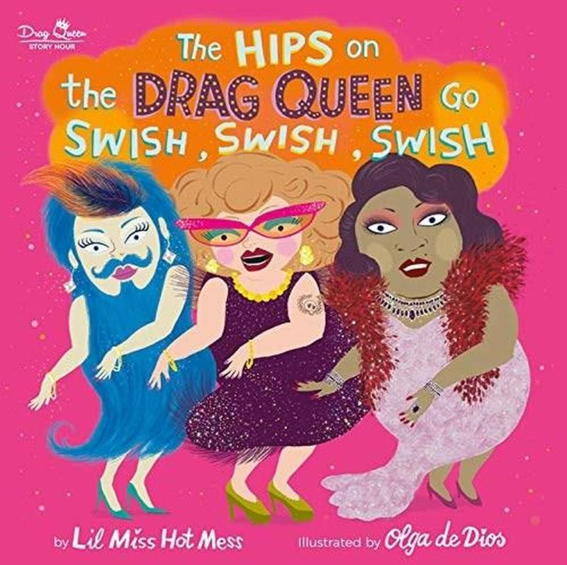 book cover featuring three illustrated drag queens swishing their hips
