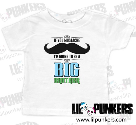 mustache-big-brother-White-Baby-Tee
