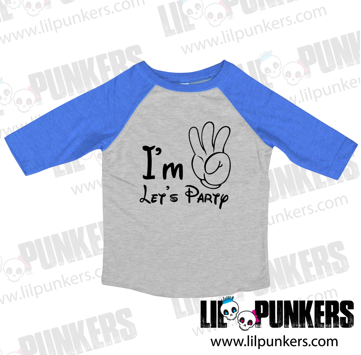 9ebb06e6 Buy the I'm 3 Let's Party Mickey Mouse Hand 3/4 Sleeve Raglan 3rd ...