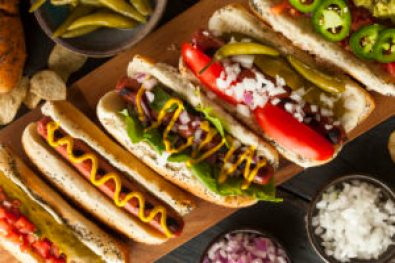 variety of hot dog and toppings