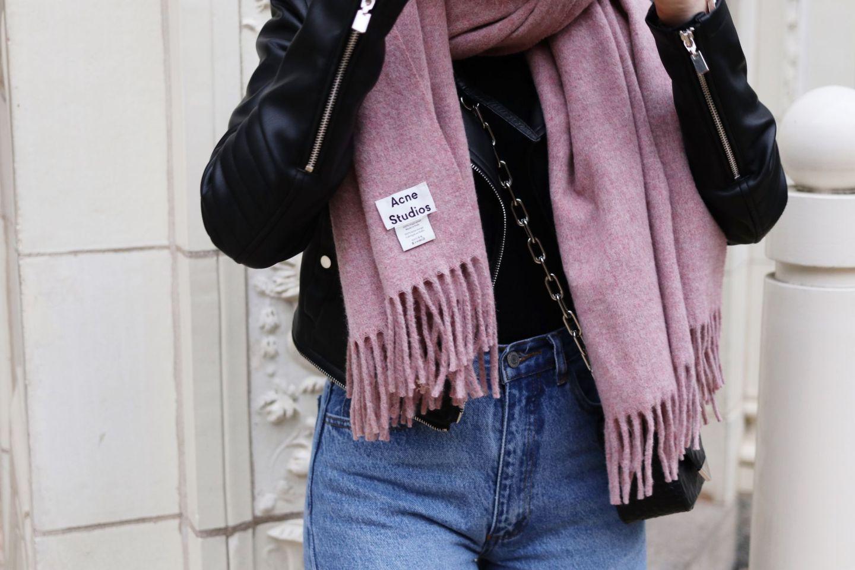 Acne Studios Canada Scarf in Grey Pink Melange