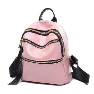 PU Leather Designer Mini Backpack Purse Handbag for Women and Girls (Pink V2)