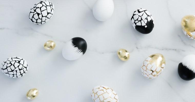 Handmade Crackled , Gold and Black Easter Eggs
