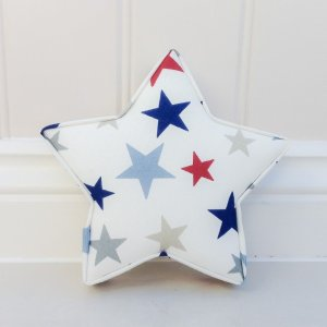 Fabric Star Set nursery wall decor. Boys room ideas red and blue grey star decor