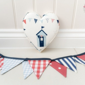 Fabric Hearts. Beach themed nursery. Red, white and blue. Beach hut. Nursery wall decor.